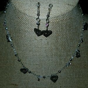 New Dainty Silver heart necklace and earring set